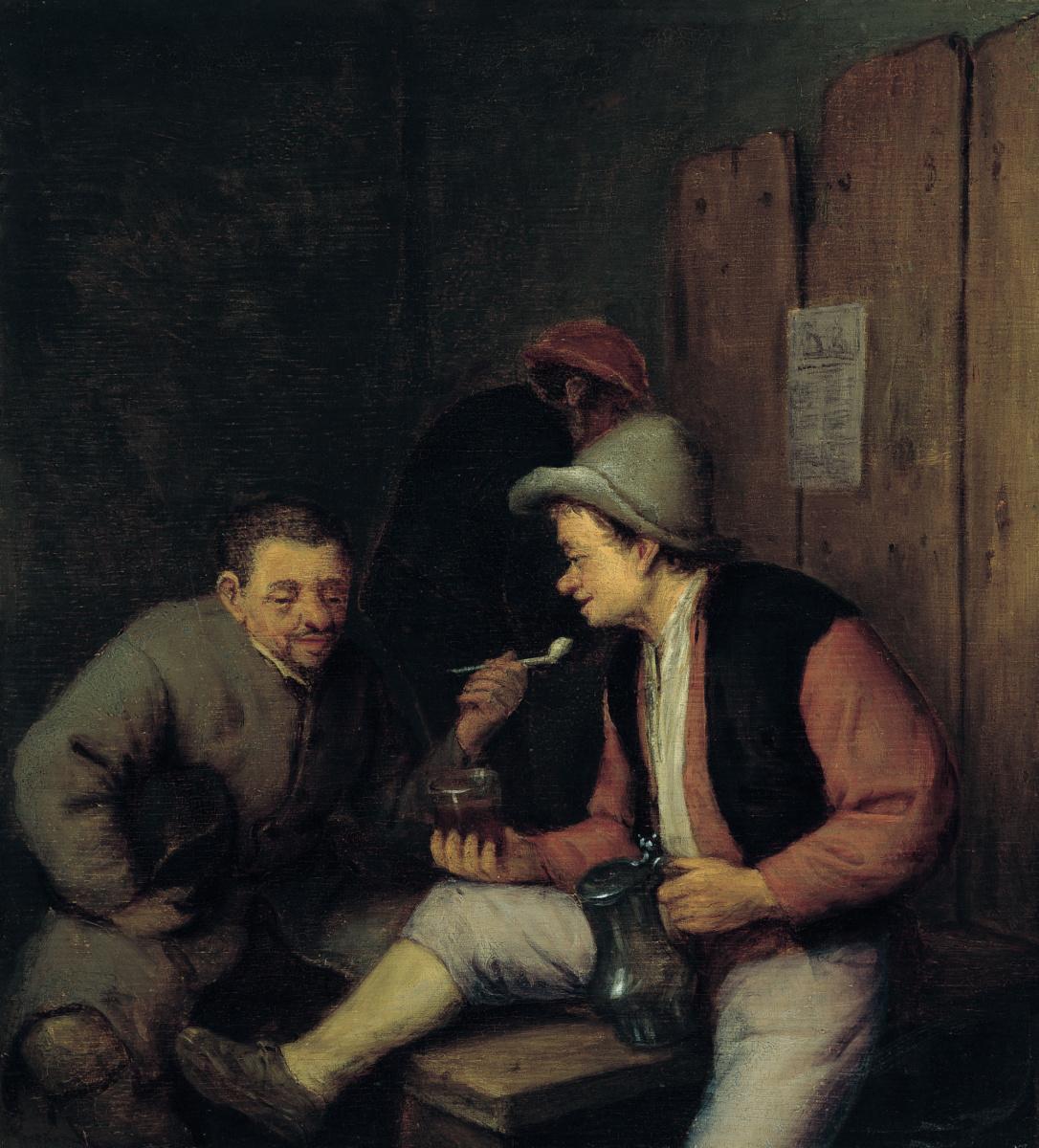 Adrian Jans van Ostade. Smoking and drinking peasants in a tavern