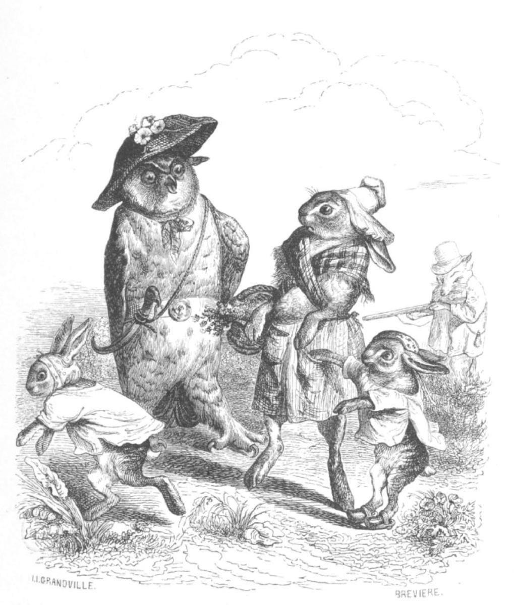 """Жан Иньяс Изидор (Жерар) Гранвиль. Большая и страшная птица. """"Сцены общественной и частной жизни животных"""""""