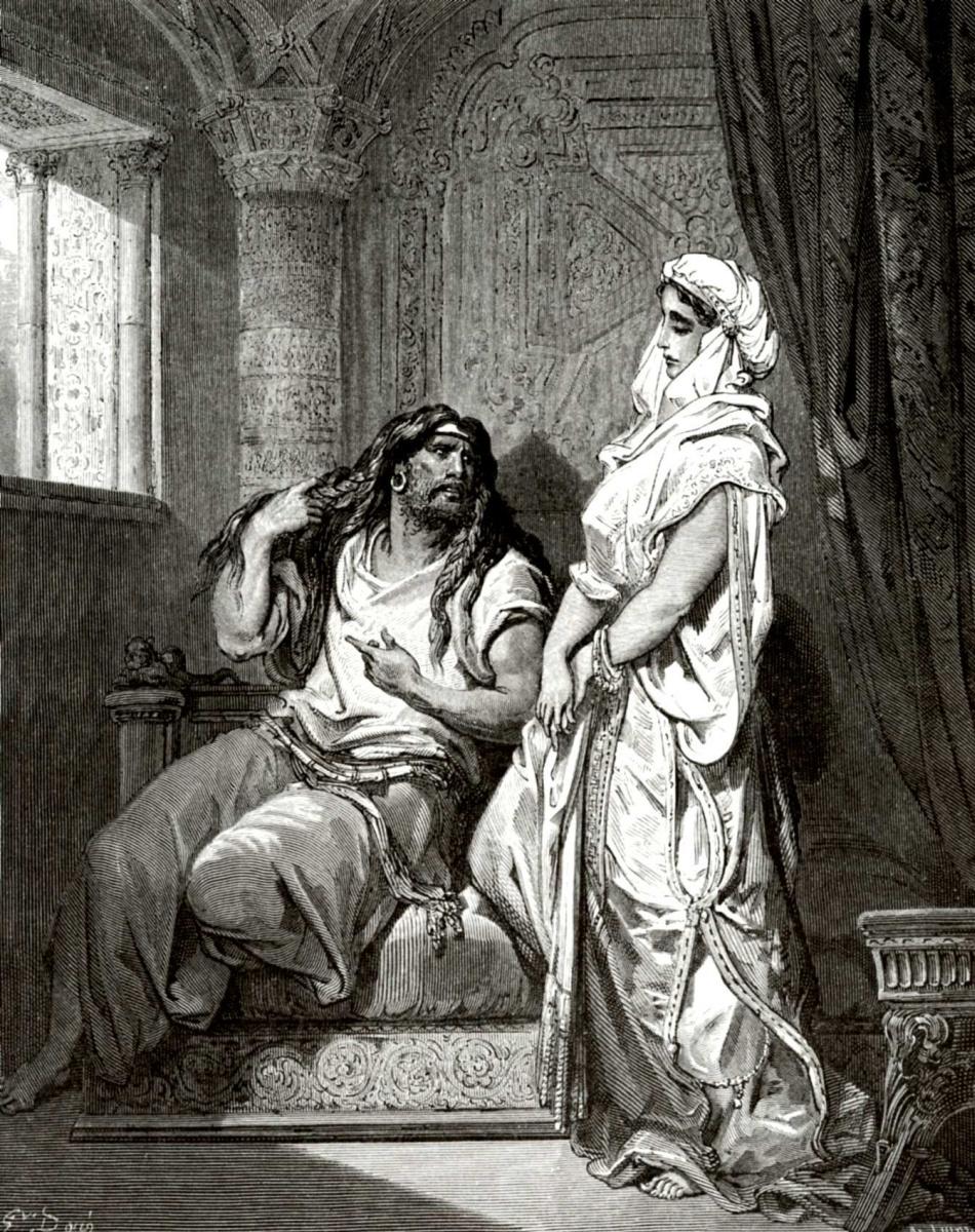 Поль Гюстав Доре. Иллюстрация к Библии: Самсон и Далила
