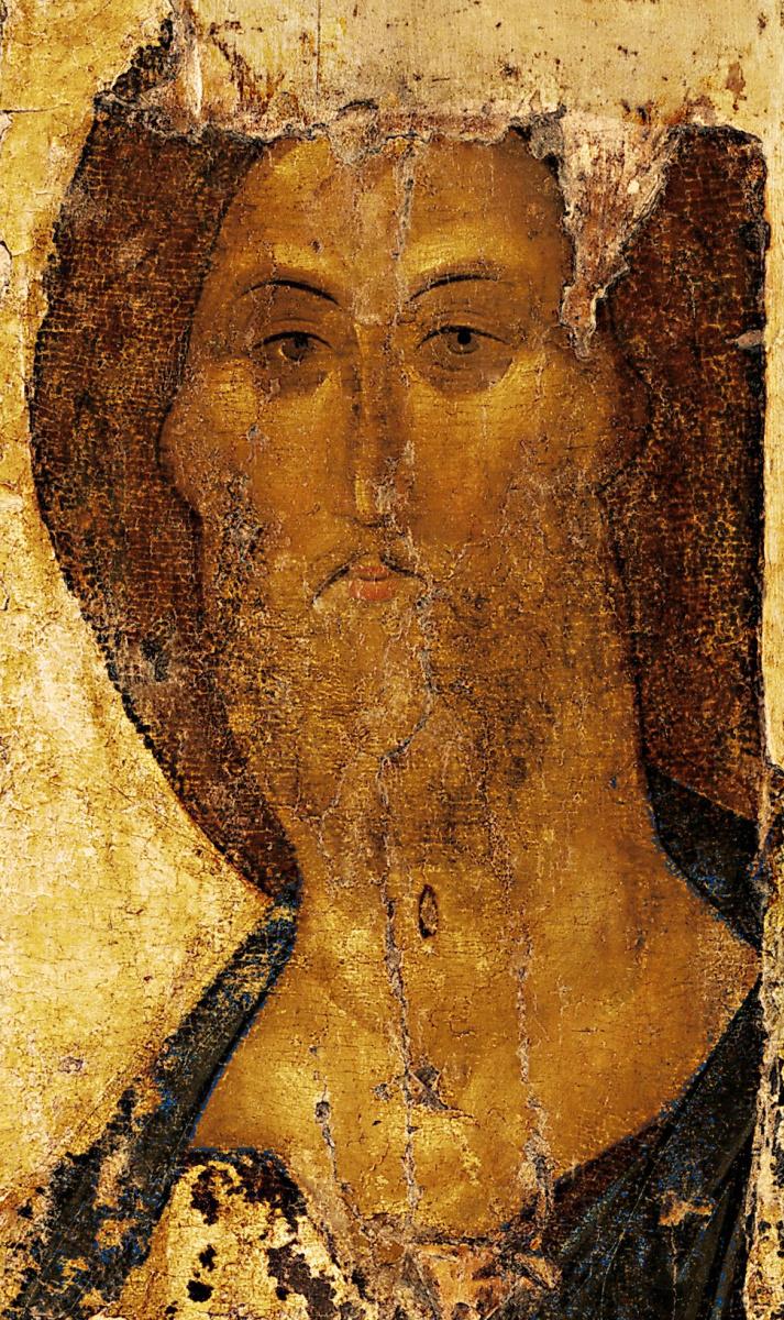 Андрей Рублев. Спас. Икона из Звенигородского деисусного чина (фрагмент)