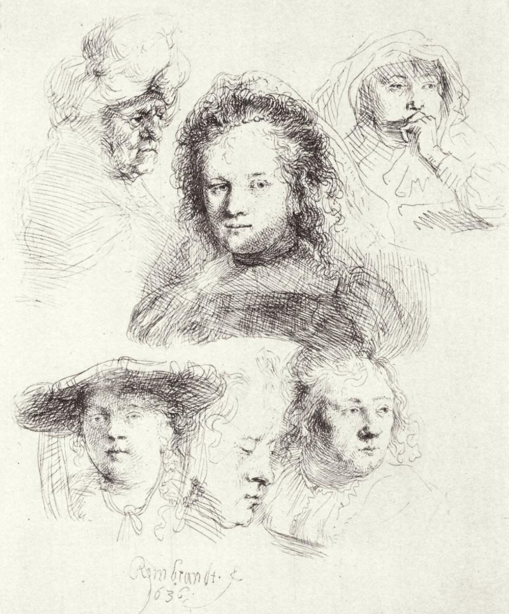 Рембрандт Харменс ван Рейн. Лист этюдов с шестью женскими головами