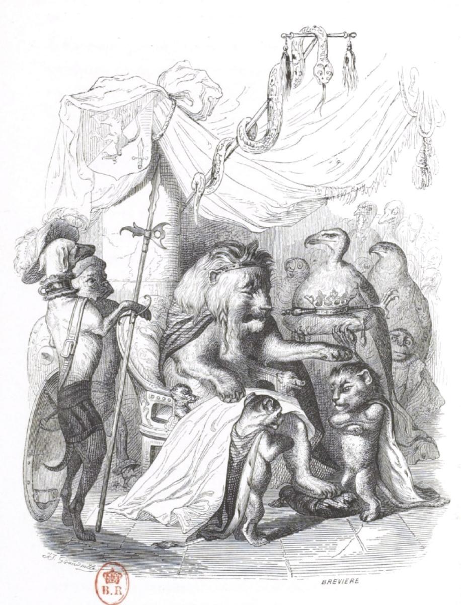 """Жан Иньяс Изидор (Жерар) Гранвиль. Старый Король. """"Сцены общественной и частной жизни"""""""