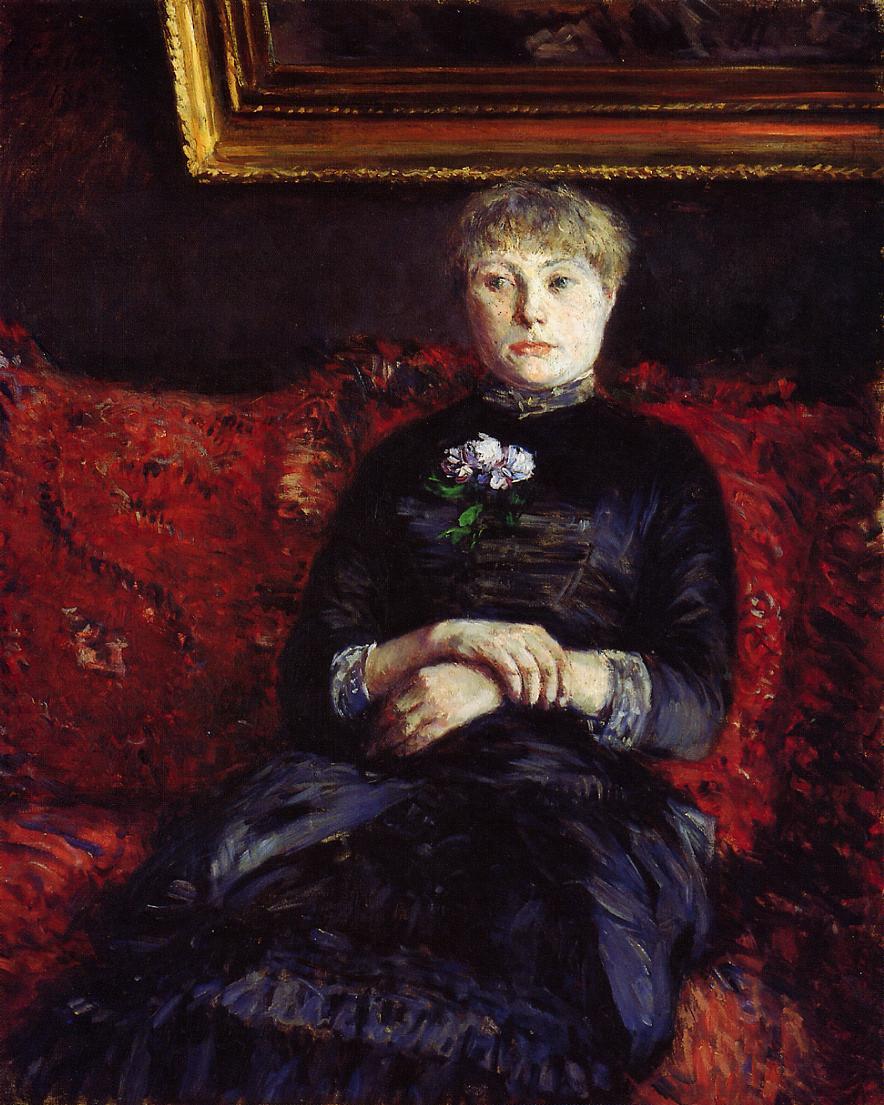 Гюстав Кайботт. Женщина, сидящая на красном диване