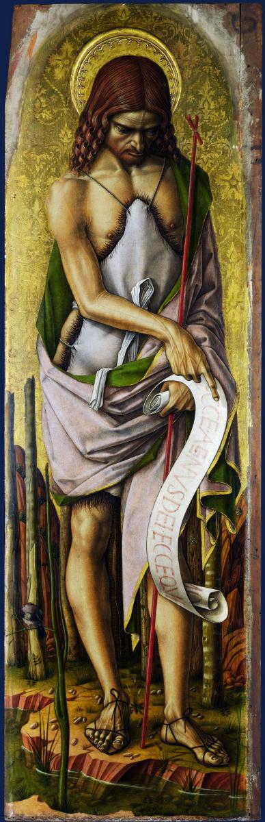 Карло Кривелли. Святой Иоанн Креститель. Центральный алтарь Сан Доменико в Асколи, полиптих, левая внешняя панель