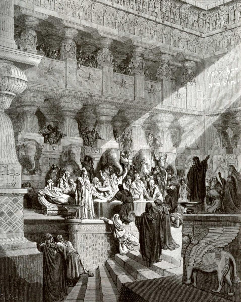 Поль Гюстав Доре. Иллюстрация к Библии: пир царя Валтасара