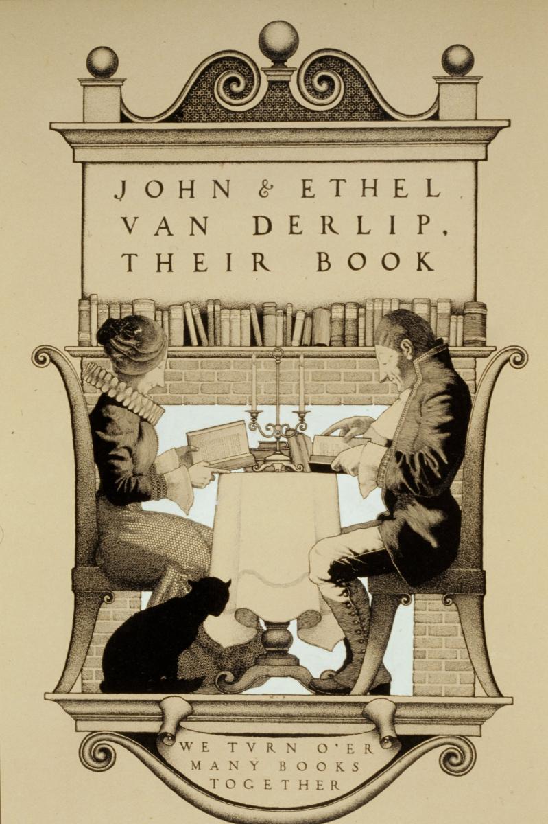 Максфилд Пэрриш. Дизайн книжного логотипа для Джона Р. и Этеля Моррисона ван Дерлипа