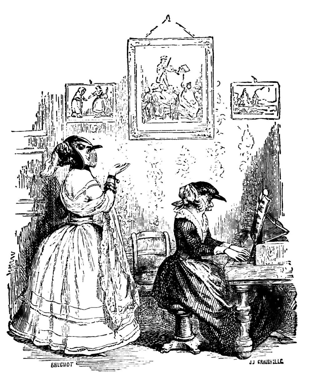 Жан Иньяс Изидор (Жерар) Гранвиль. Голубь и Черепаха. Иллюстрации к басням Флориана