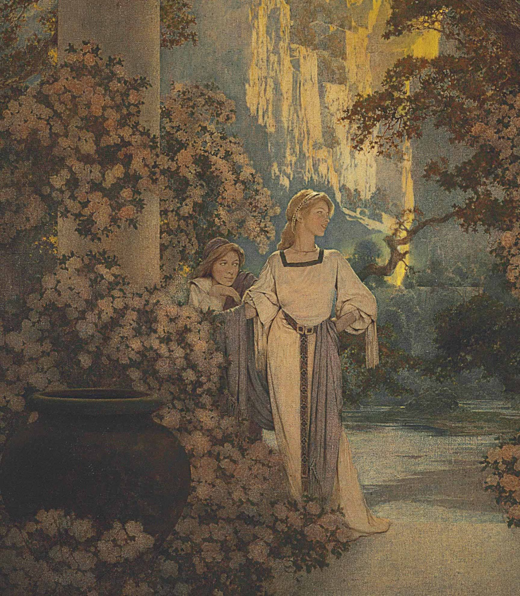 Maxfield Parrish. The land of Make-Beliv. Fragment