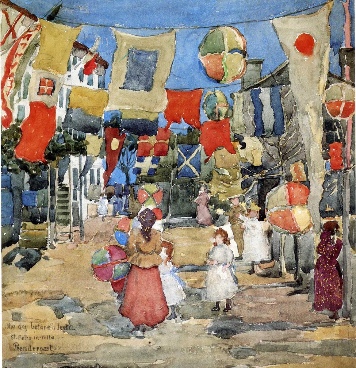 Морис Брэзил Прендергаст. Праздник - Венеция, Сан Пьетро в Вольта