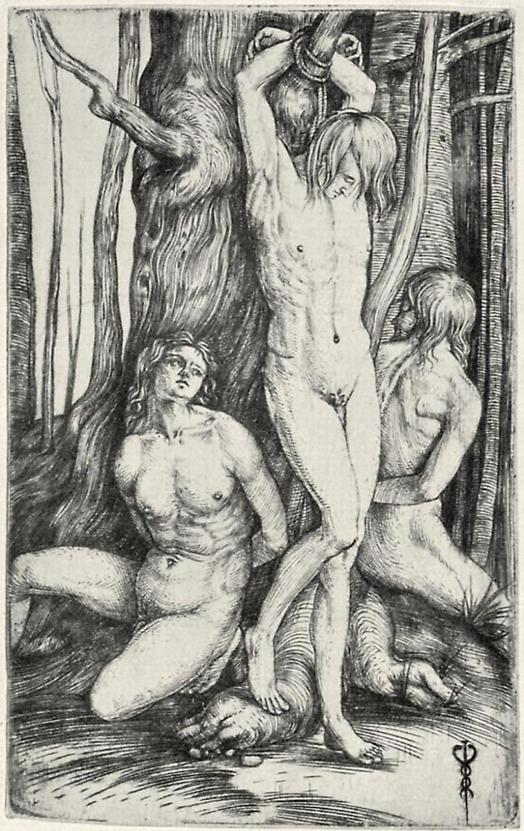 Якопо де Барбари. Три обнаженных мужчины, привязанные к дереву