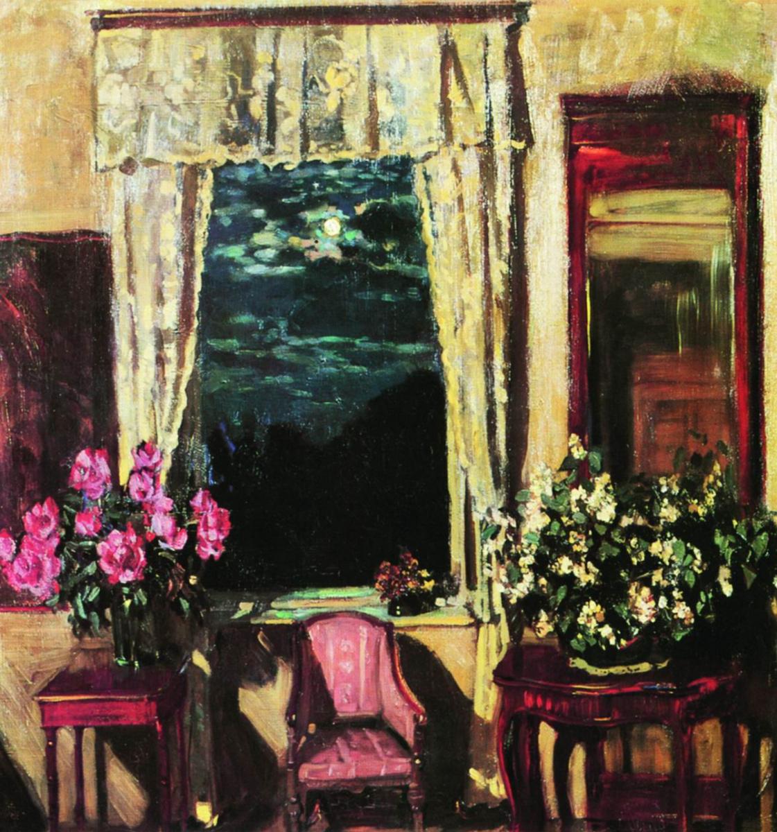 Stanislav Yulianovich Zhukovsky. Moonlit night. Jasmine and peonies