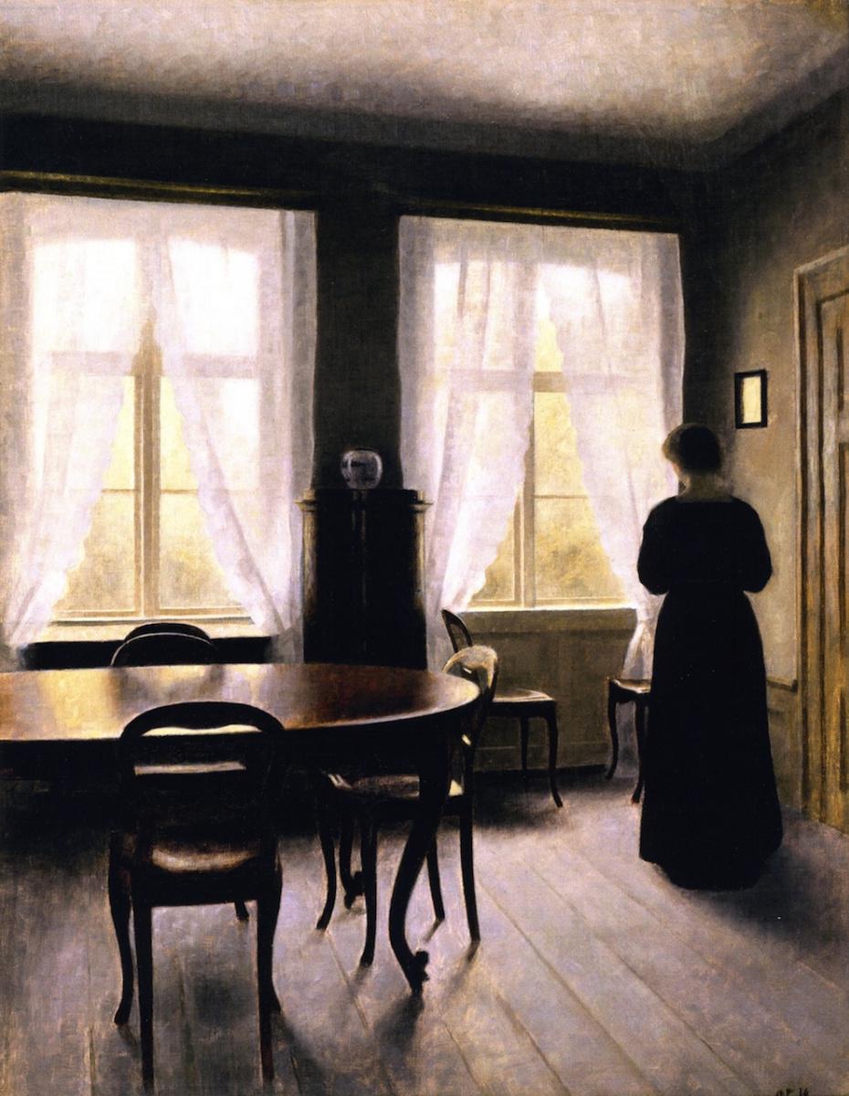 Вильгельм Хаммерсхёй. Интерьер с женщиной у окна, Фредерикс Алле