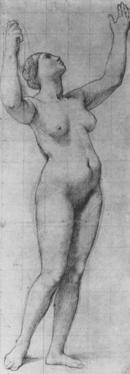 Jean Auguste Dominique Ingres. Sketch of a Nude model for an allegorical figure of France
