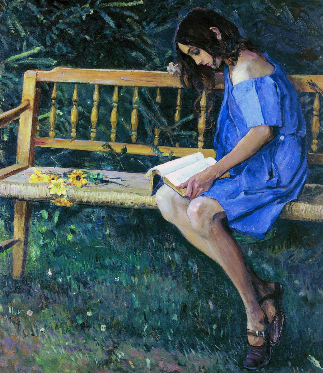Mikhail Vasilyevich Nesterov. Natasha Nesterova on a garden bench