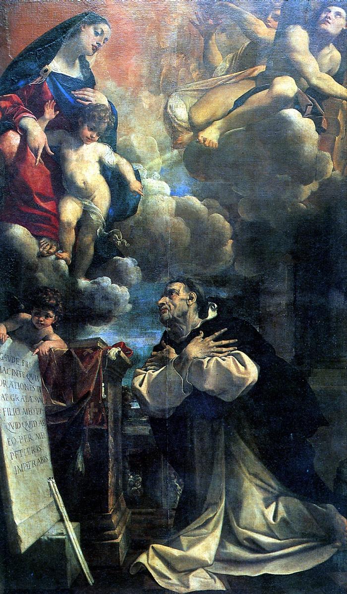 Лодовико Карраччи. Мадонна с младенцем, являющаяся Святому Гиацинту