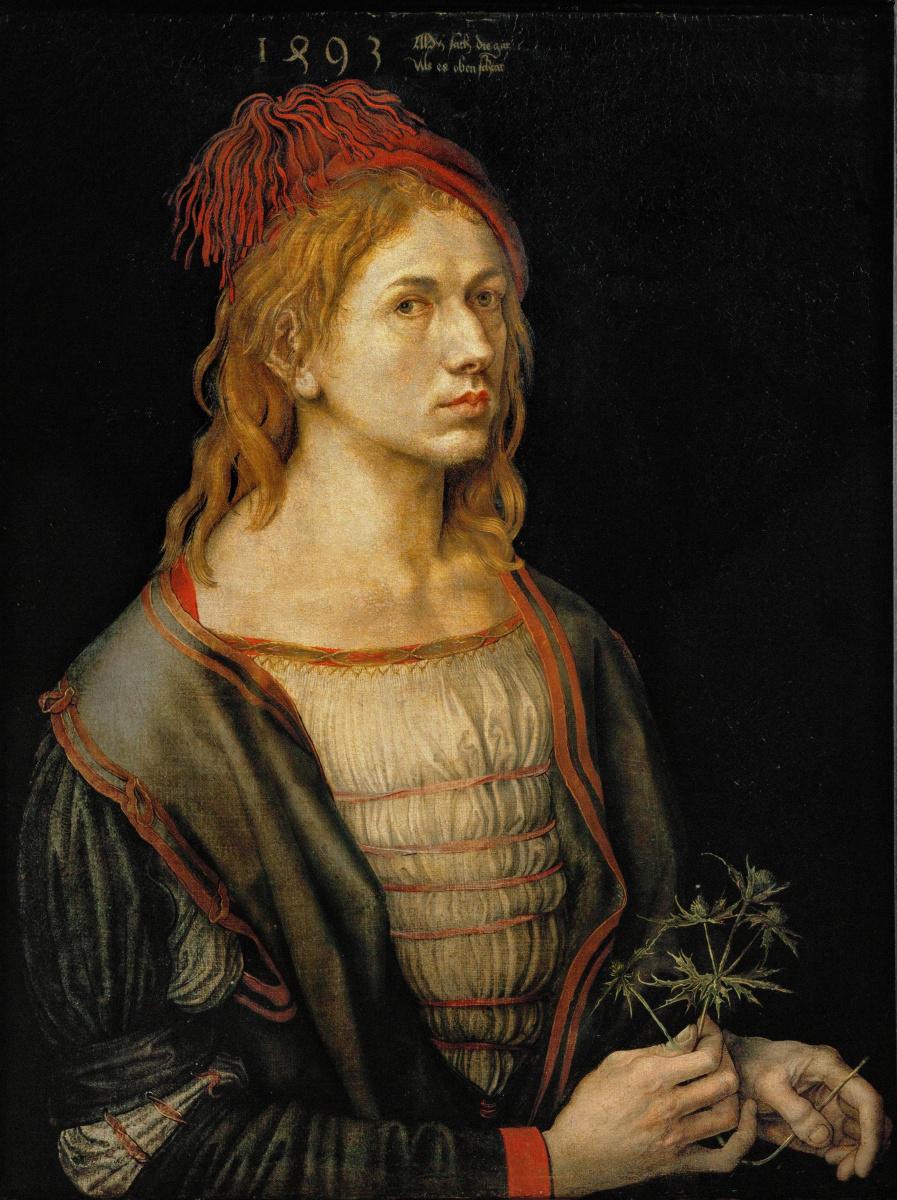 Albrecht Dürer. Self-portrait with Holly (self Portrait with a Thistle)