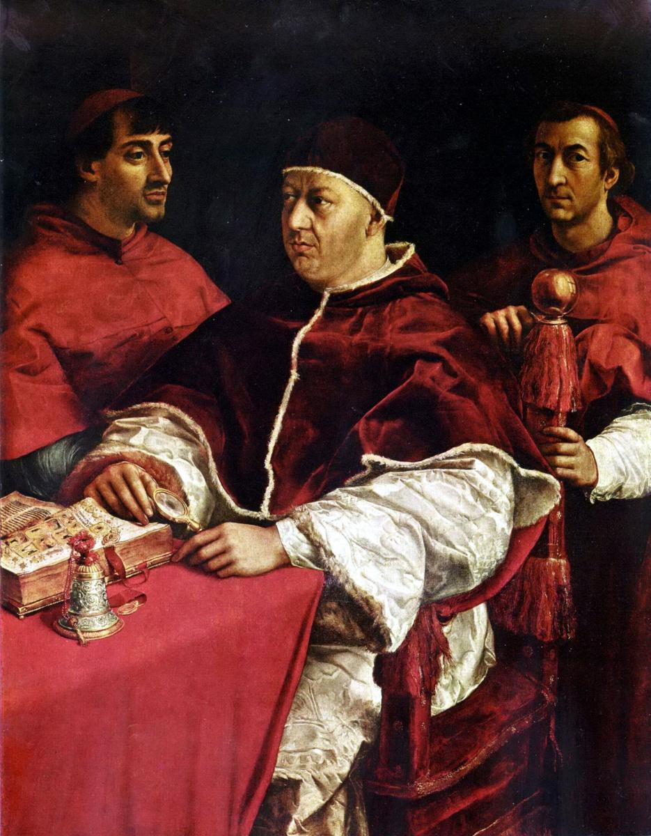Рафаэль Санти. Портрет папы Льва Х с кардиналами Джулио Медичи и Луиджи Росси.