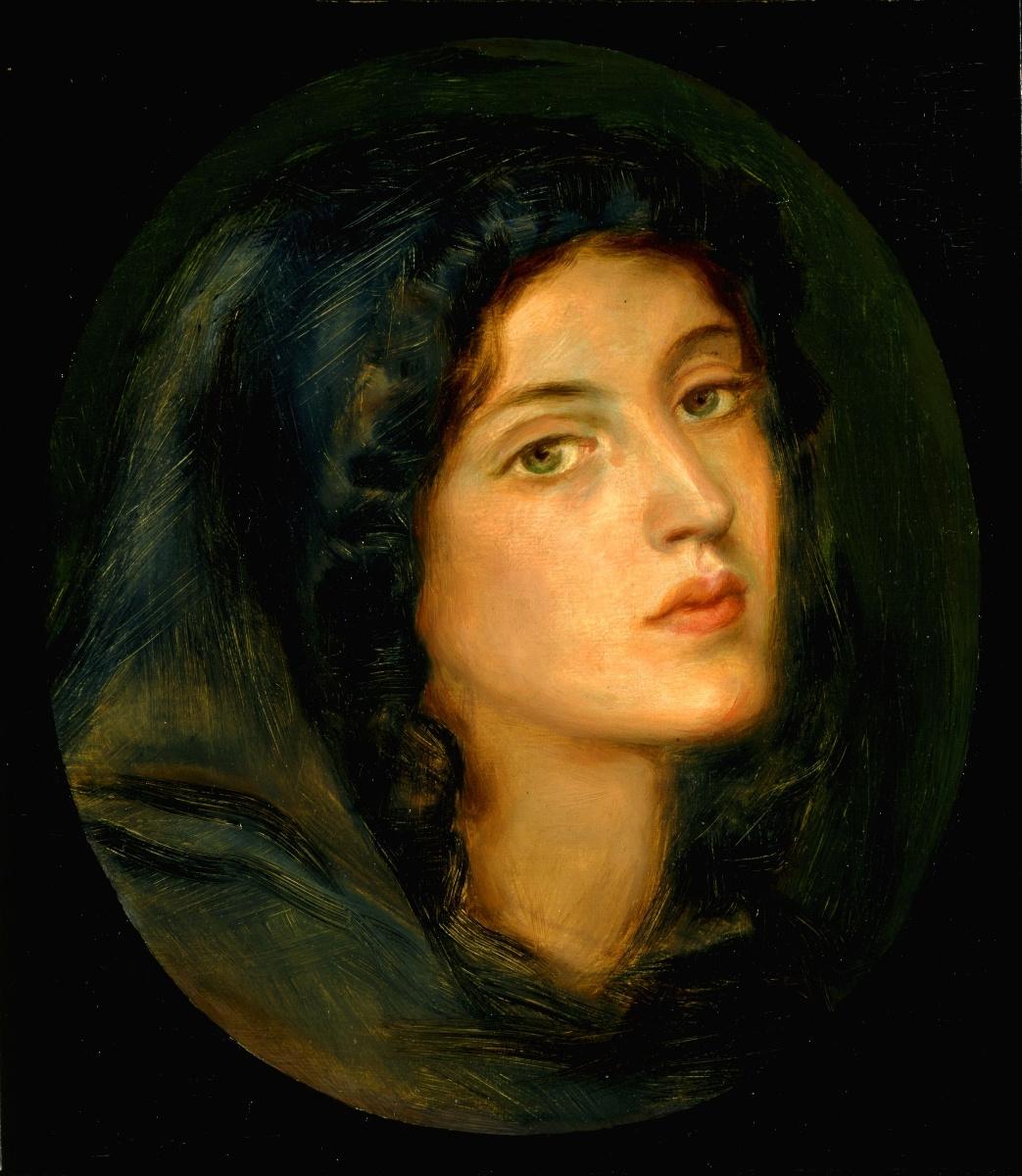 Данте Габриэль Россетти. Портрет мисс Бартон (Женщина в синем капюшоне)