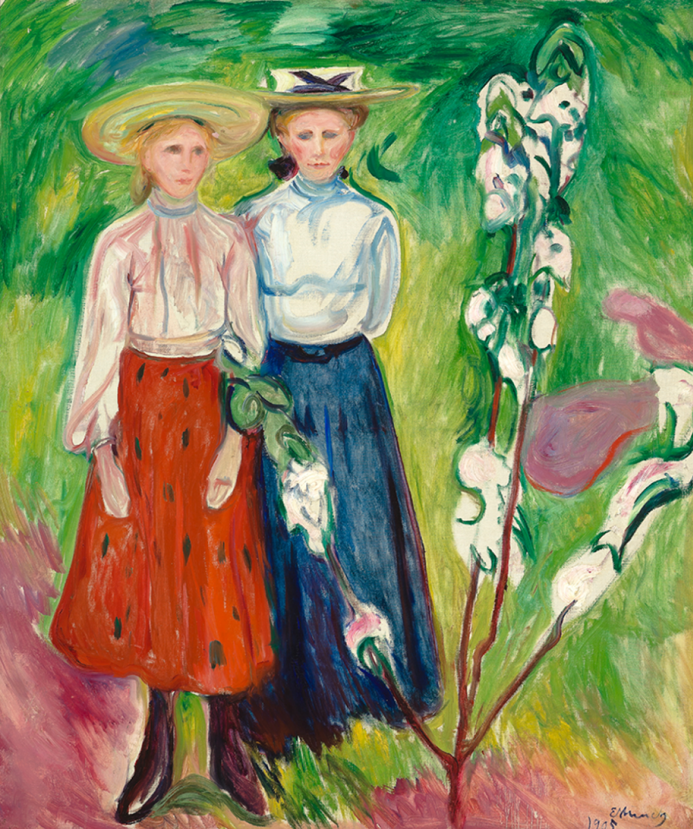 Edward Munch. Two girls under a blossoming apple tree