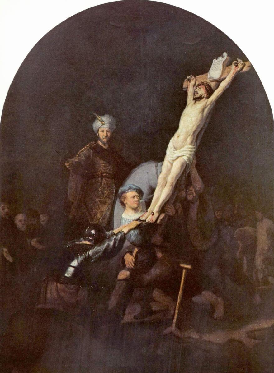 Рембрандт Ван Рейн. Воздвижение креста