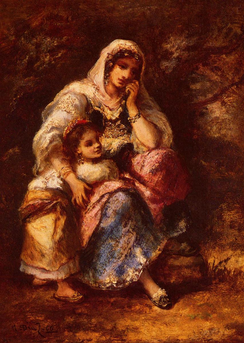 Нарсис Виржилио Диас де ла Пёнья. Мать с дочерью