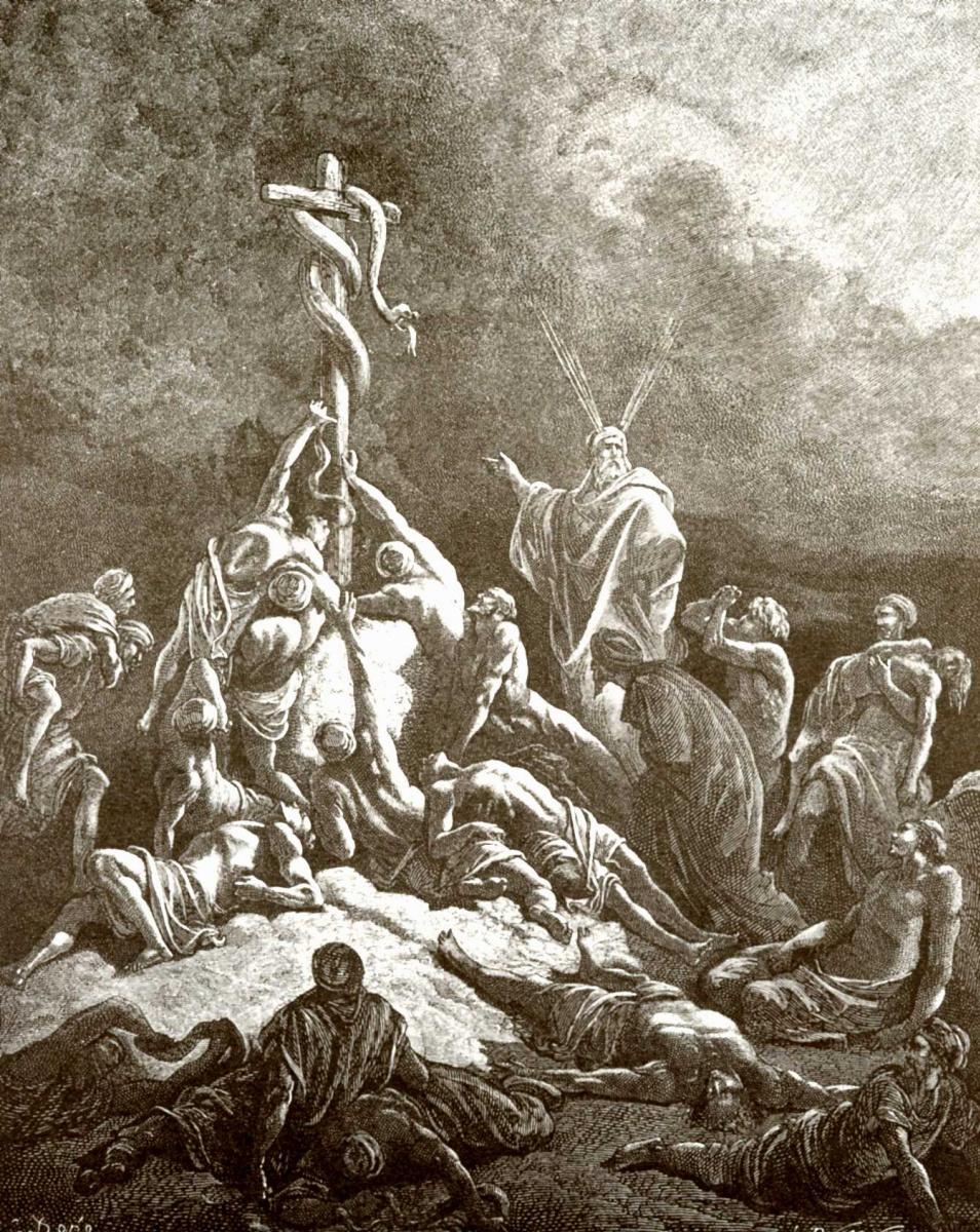 Поль Гюстав Доре. Иллюстрация к Библии: медный змий