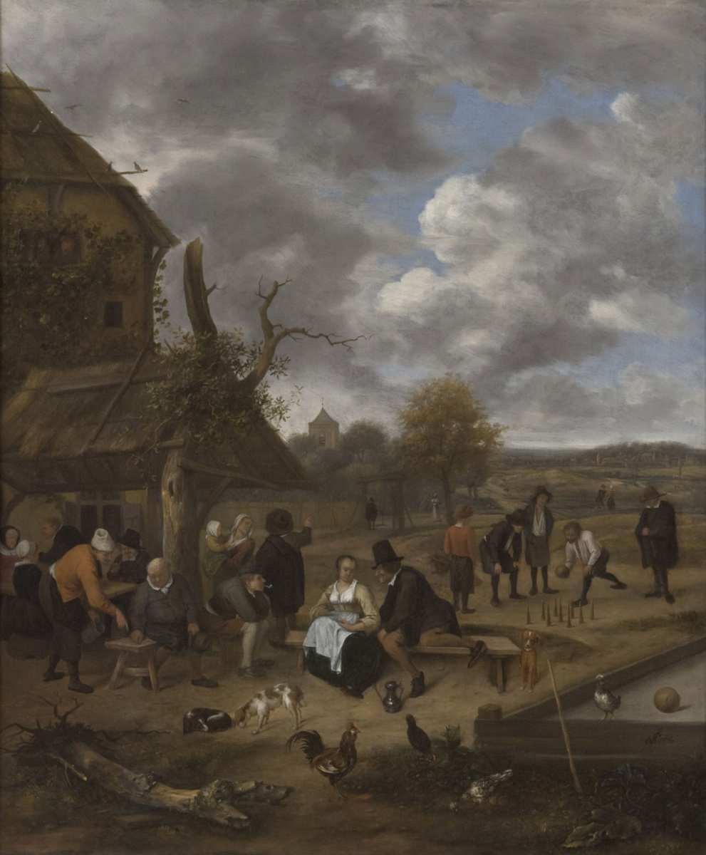 Jan Steen. Landscape with a hotel and players of skittles