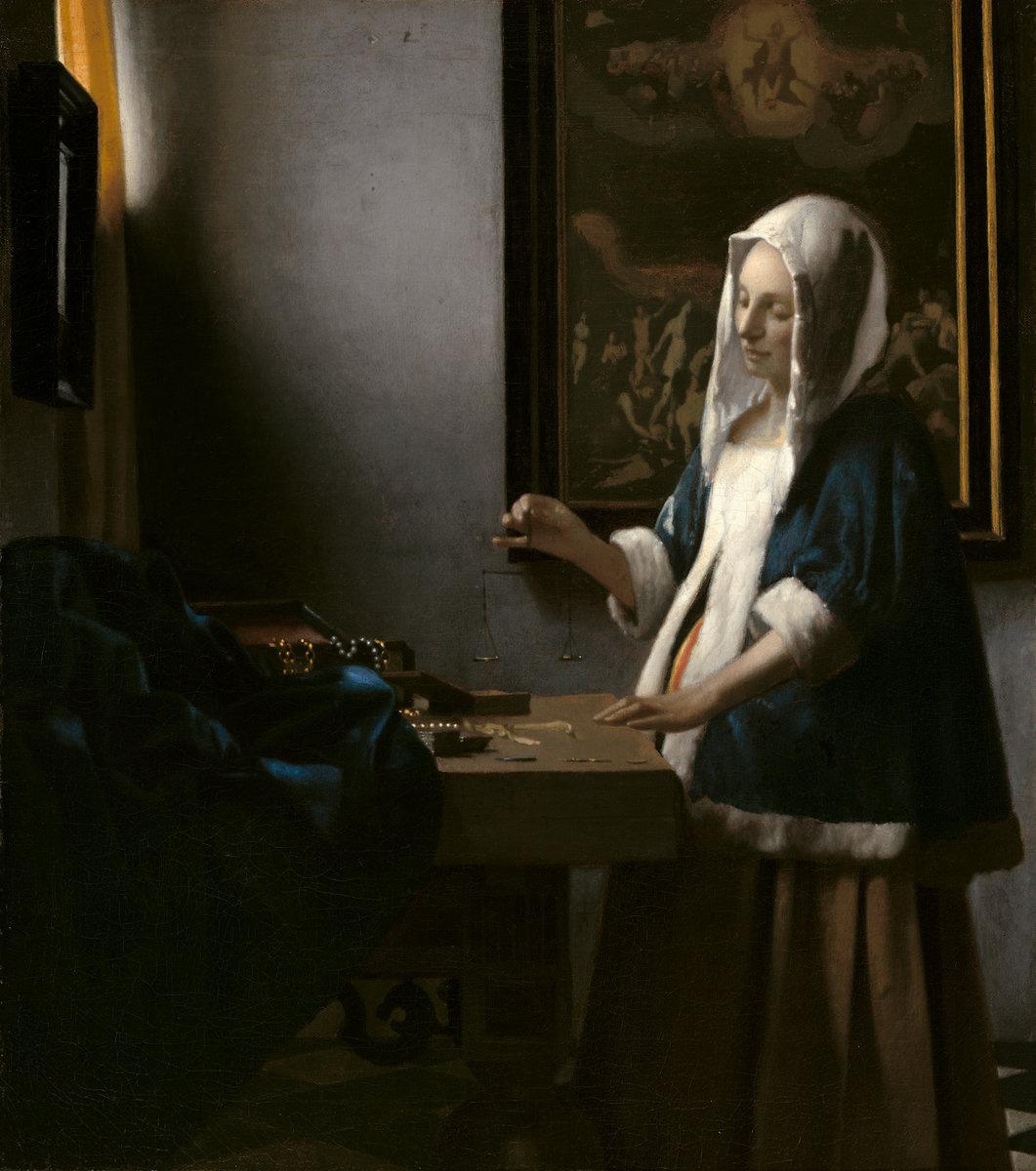 Jan Vermeer. Woman with scales