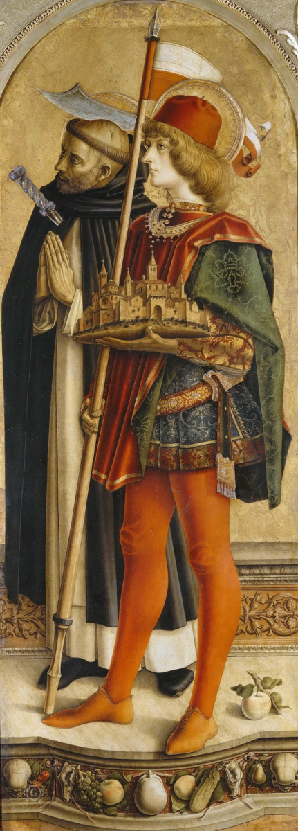 Carlo Crivelli. Saint Peter the Martyr and Saint Venezian of Kaerinsky. Altar Triptych Camerino, right wing
