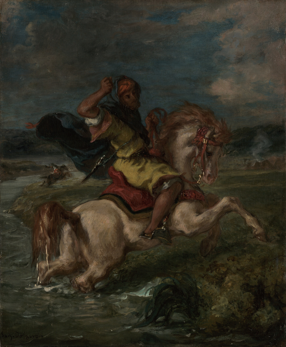 Eugene Delacroix. Moroccan rider crosses the Ford of the river