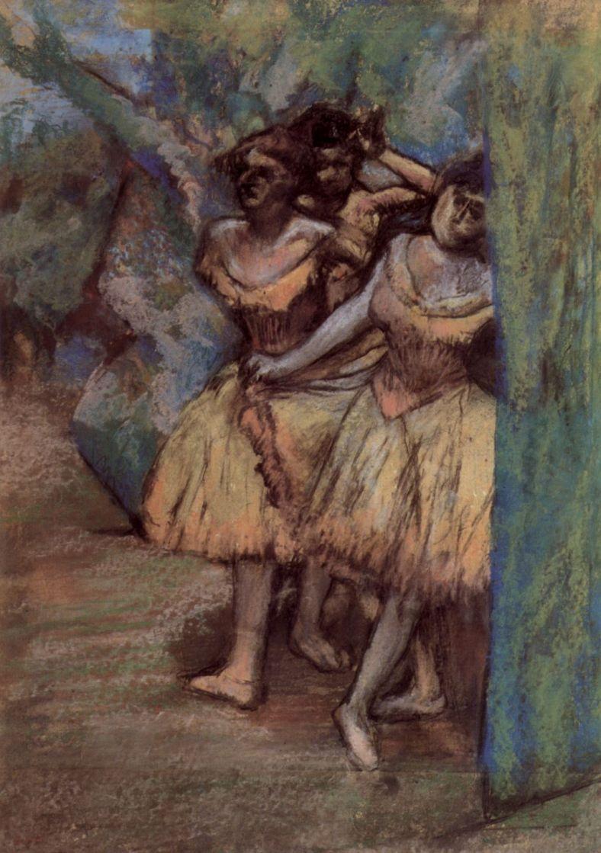 Эдгар Дега. Три балерины за кулисами