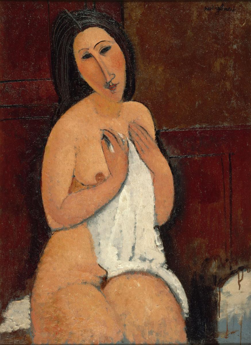Амедео Модильяни. Сидящая обнаженная с рубашкой