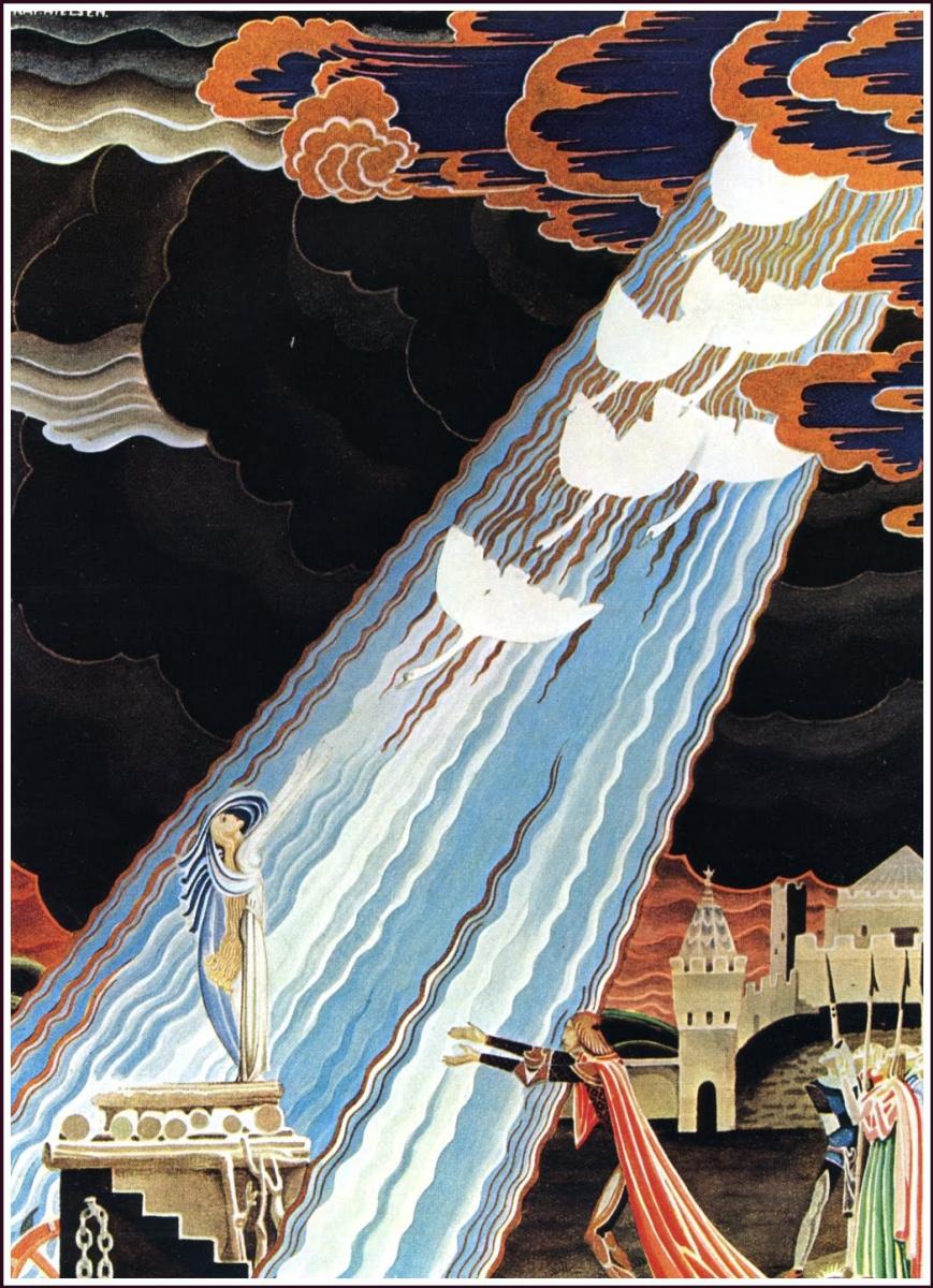 """Кей Нильсен. Иллюстрация к сказке """"Шесть лебедей"""" братьев Гримм"""