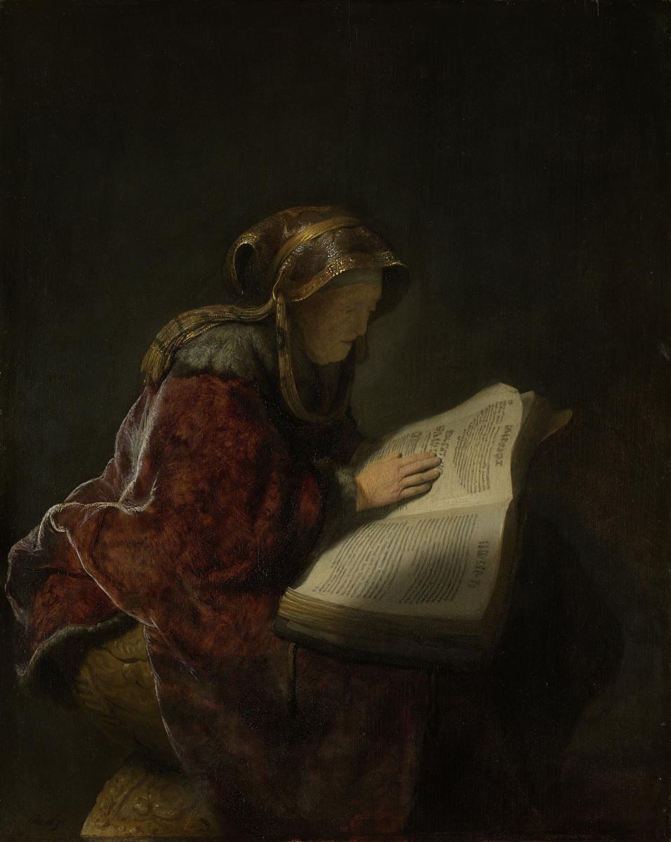 Рембрандт Ван Рейн. Старая читающая женщина (Пророчица Анна)