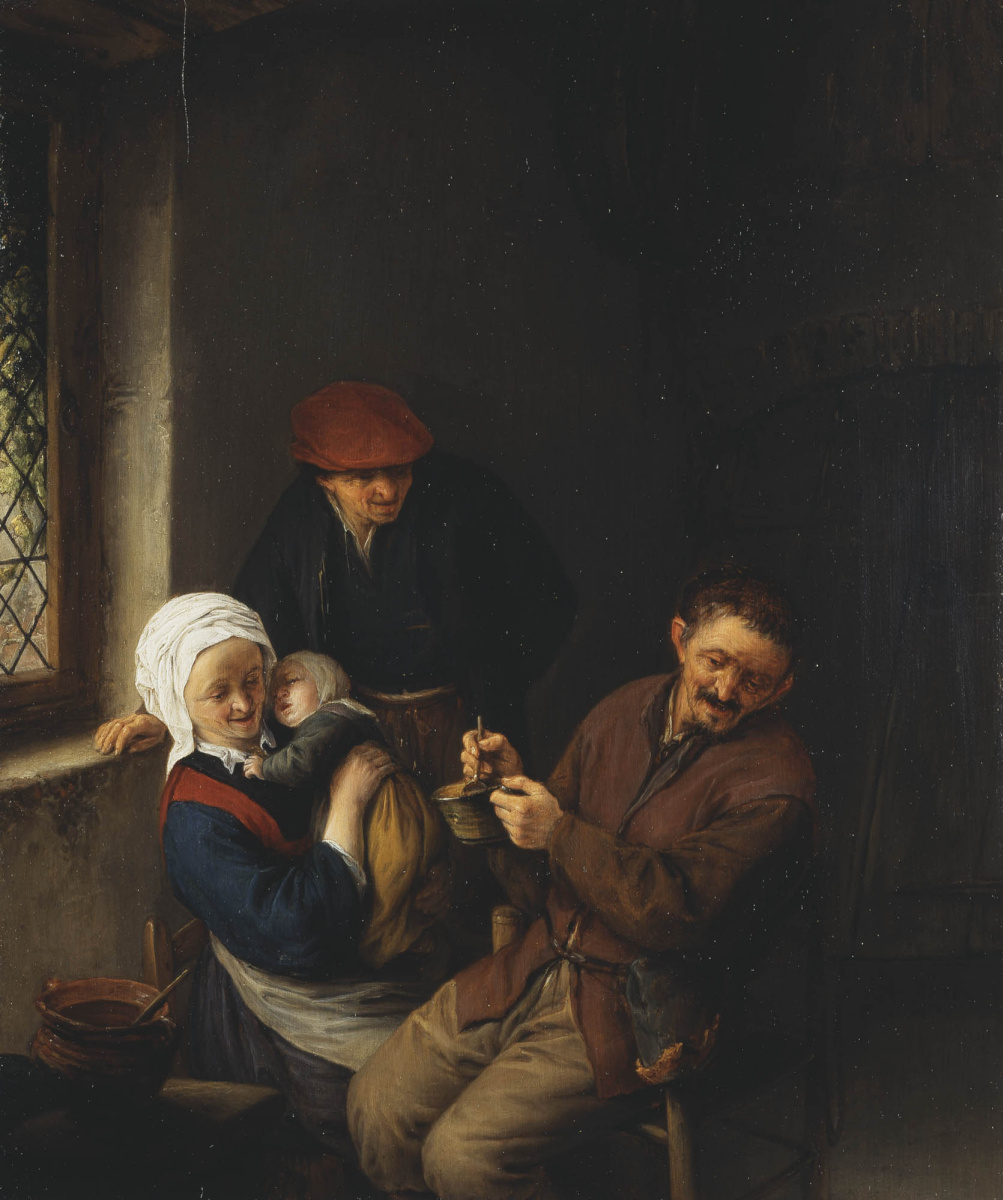 Adrian Jans van Ostade. Interior of a peasant house. Feeding baby