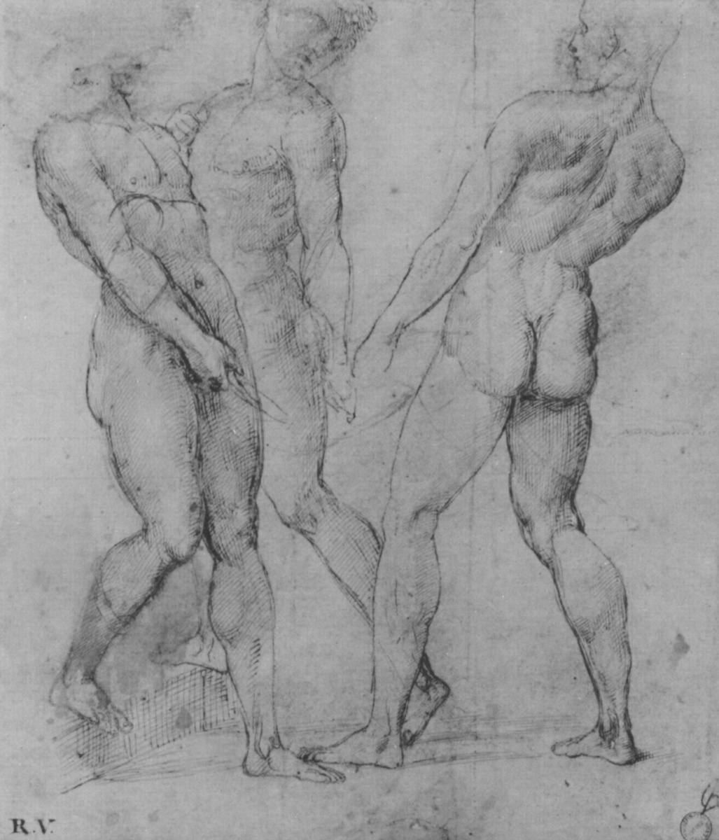 """Raphael Sanzio. Sketch of three Nude male figures for the """"Burial of Christ"""""""