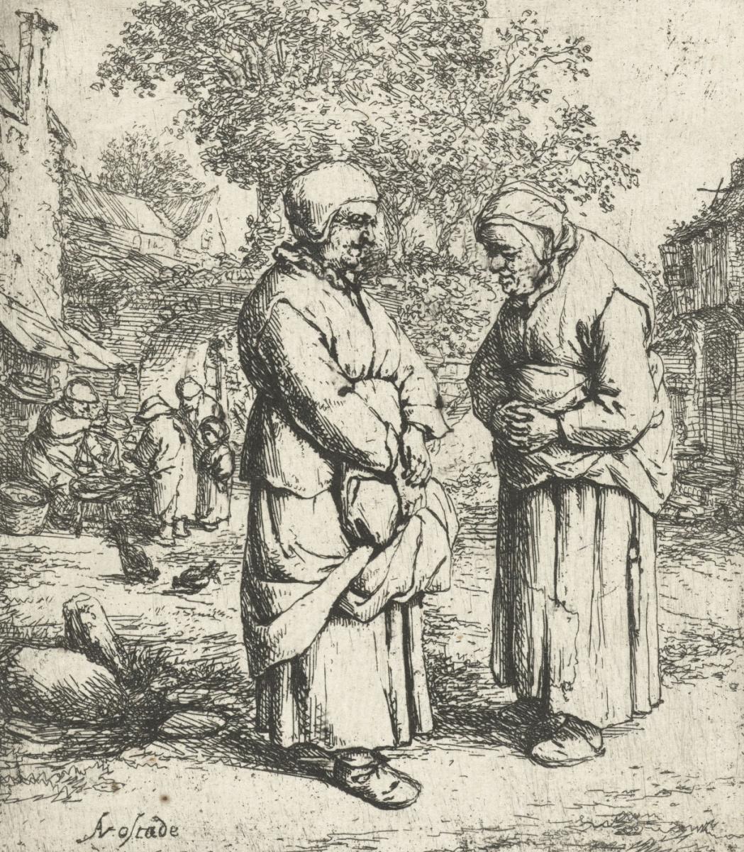 Adrian Jans van Ostade. The conversation of two elderly women