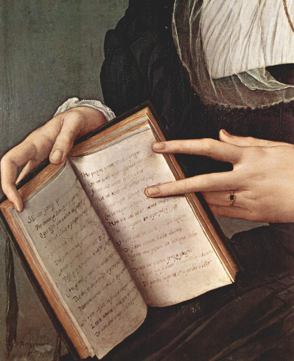 Agnolo Bronzino. Portrait of Laura Battiferi. Fragment