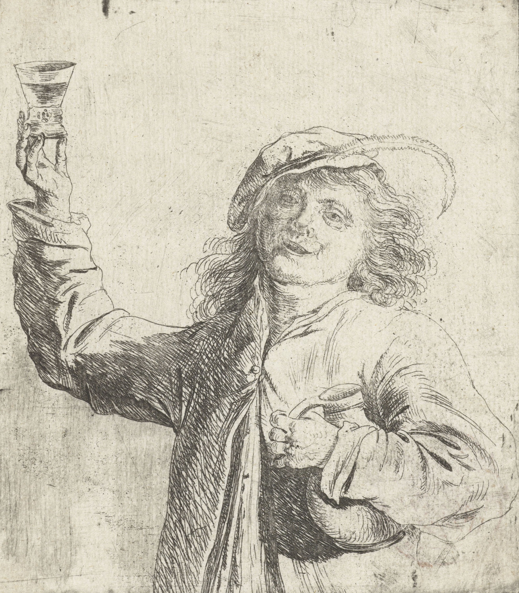 Jan Lievens. A man with a glass in hand and jug under my arm