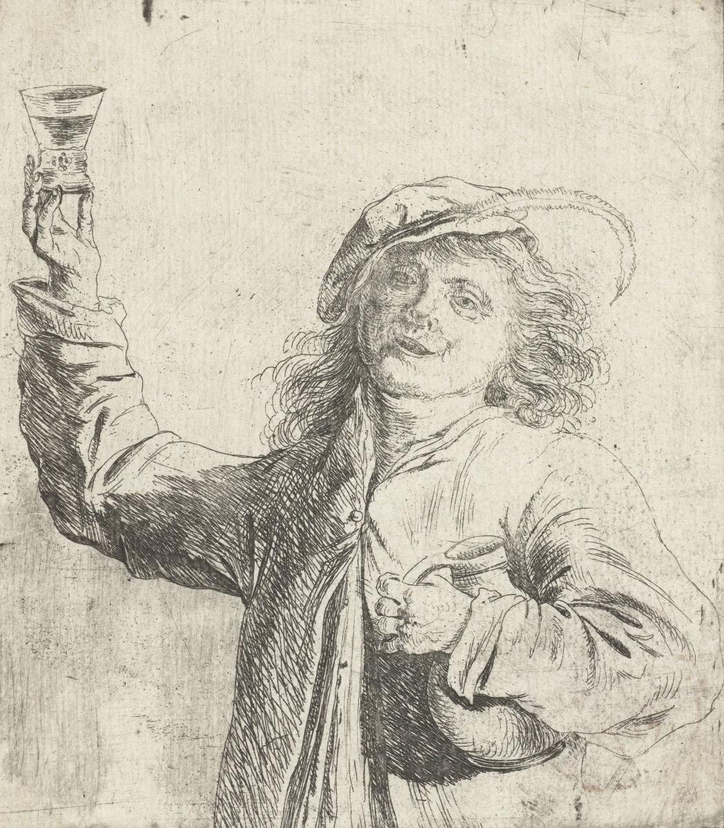 Ян Ливенс. Мужчина со стаканом в руке и кувшином под мышкой