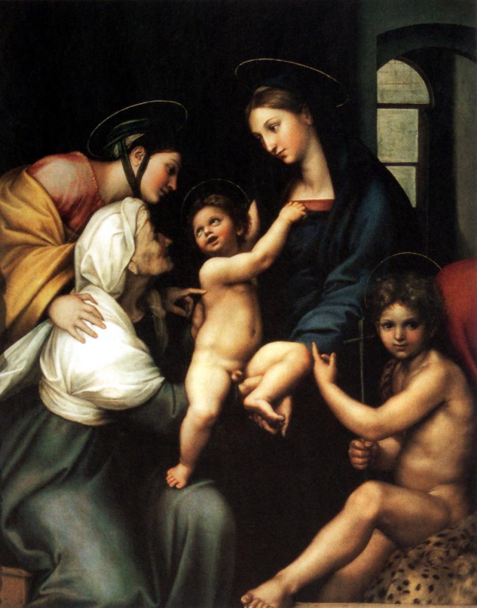 Рафаэль Санти. Мадонна с младенцем и Святым Иоанном Крестителем