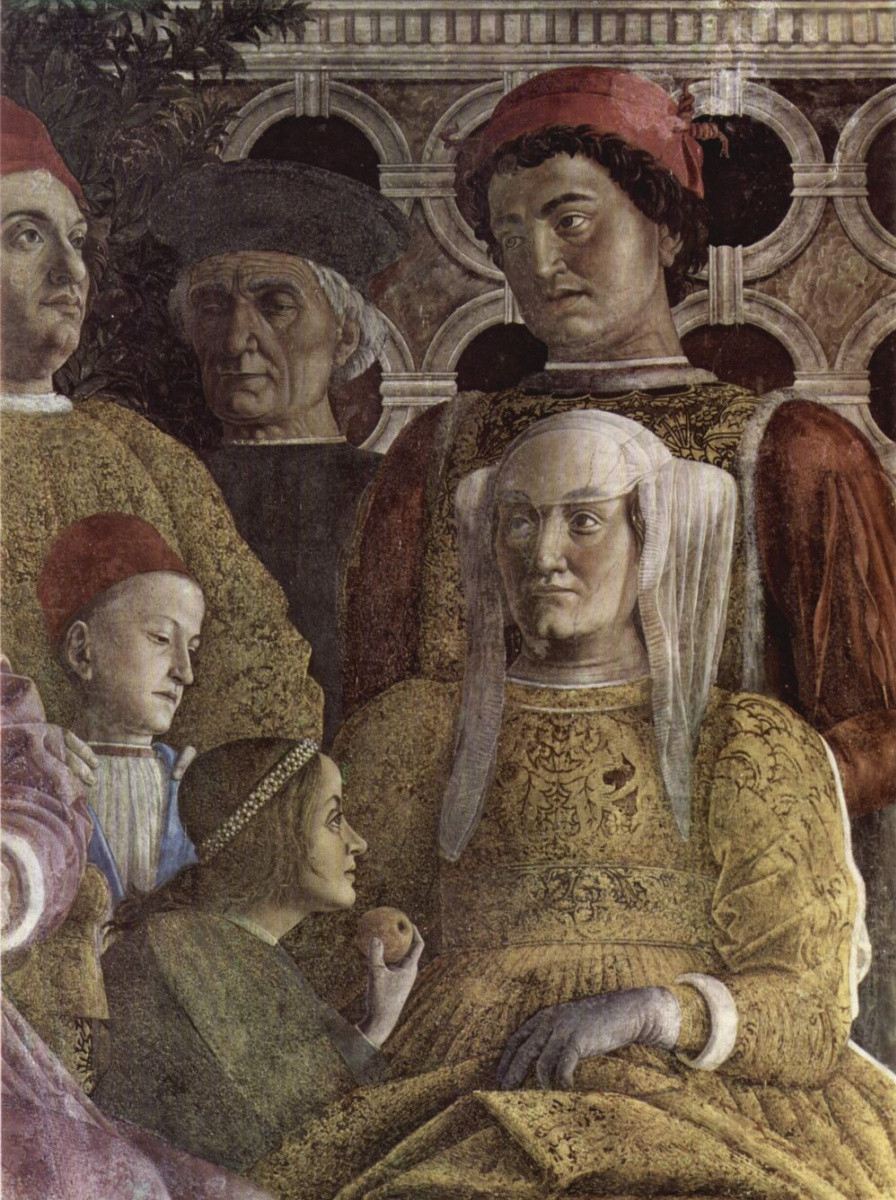Андреа Мантенья. Двор Гонзага, фрагмент: супруга герцога Барбара Бранденбургская, её дети Лодовико, Паола, Рудольфо и придворный. Камера