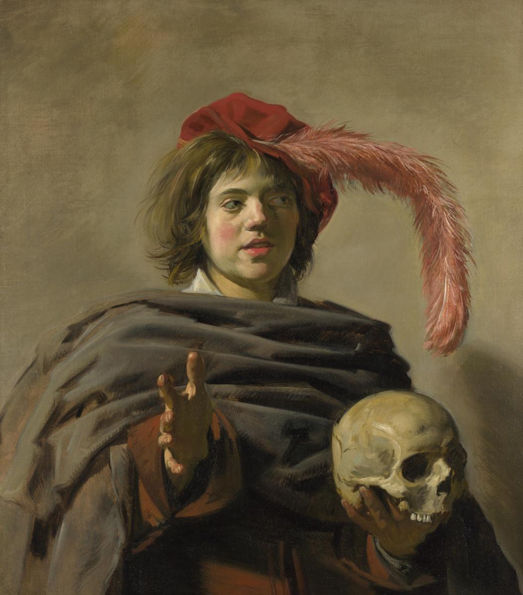 Frans Hals. Portrait of a young man with a skull (Vanitas)