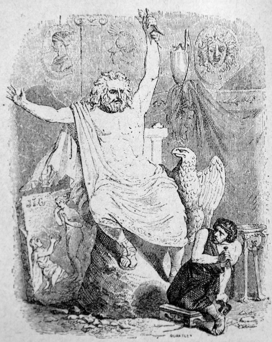 Жан Иньяс Изидор (Жерар) Гранвиль. Скульптор и статуя Юпитера. Иллюстрации к басням Жана де Лафонтена