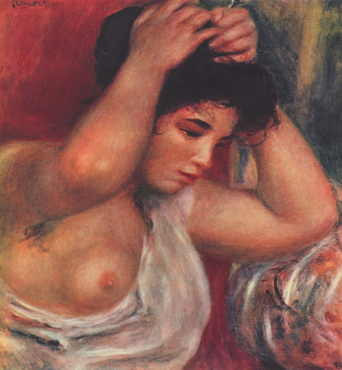 Pierre-Auguste Renoir. Young woman making hairstyle
