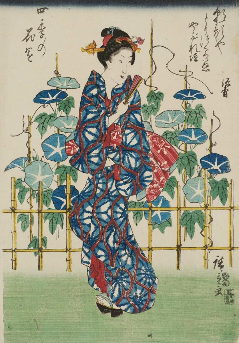 Утагава Хиросигэ. В саду с цветами ипомеи