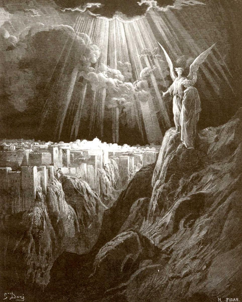Поль Гюстав Доре. Иллюстрация к Библии: Ангел показывает апостолу Иоанну новый Иерусалим
