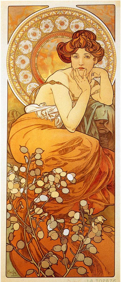 Alfons Mucha. Topaz. A series of gems