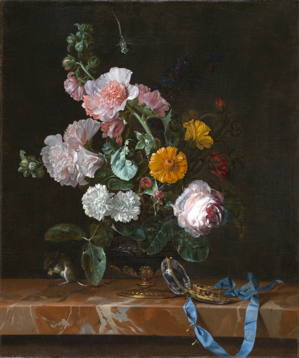 Willem van Aelst. Vase with flowers and clock