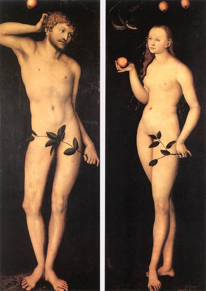 Лукас Кранах Старший. Адам и Ева 1528